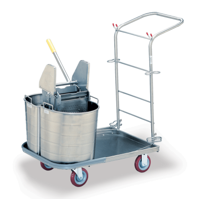 Metal Cart with Two Stainless Buckets